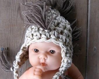 Baby MOHAWK Hat Photo shoot Newborns, Crochet Knit Beanie HAT Photography Infants Newborns Babies, Gift New Baby Mohawk Hat, Beanie Photo