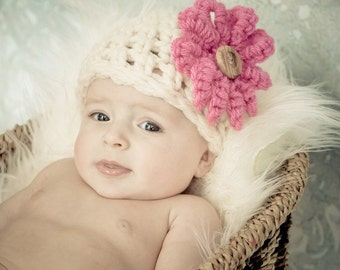 Hat and Diaper Cover Newborn / Beanie Hat Cap Photo Shoot / Hat and Diaper Cover in Cream Photography Infants / Perfect GIFT Baby Hat Flower