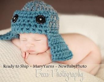 Aviator Flyer Hat Newborn Photo prop, Baby Hat Blue Gray, Pilot Hat, Flyer Hat, Aviator Hat Handmade crochet Knit Hat Photo Shoot All Babies