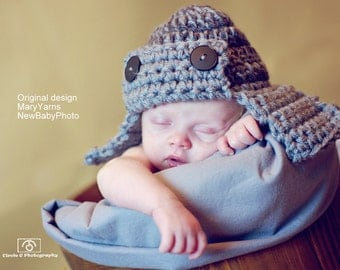 AVIATOR Hat Newborn Photo Shoot in Grey or ANY COLOR Photography Baby Hat Infant Girl Boy Photo shoot all Babies