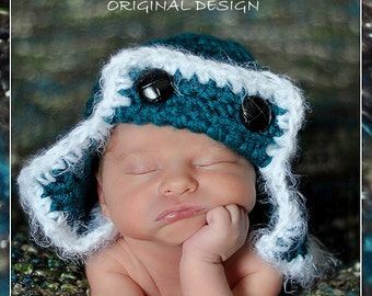 Aviator Flyer Hat and diaper cover Newborn Photo prop in TEAL - Photography Baby Set - 2pc Infant Girl Boy Photo Shoot Available COLORSs