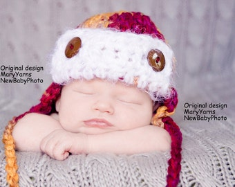 AVIATOR Hat Newborn Baby Photo prop in FULL COLOR or any color - Flyer Photography Hat infant girl boy photography new baby