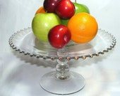 Vintage Imperial ELEGANT Glass Ohio CANDLEWICK Tall CRYSTAL Beaded Cake Stand