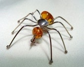 Amber SPIDER Pin in STERLING Silver