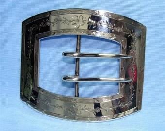 Reduced // ANTIQUE Dated 1907 La Pierre Signed STERLING Silver Sash Belt BUCKLE