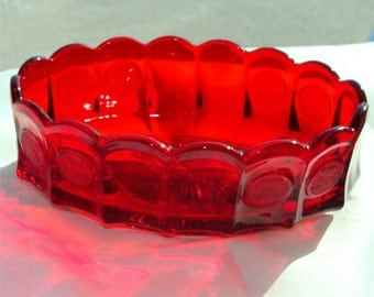 Vintage Christmas color 1960's FOSTORIA Ruby RED COIN Pattern Bowl