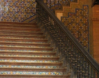 Fine Art Color Architecture Photography of Tiled Stairway in Sevilla Spain