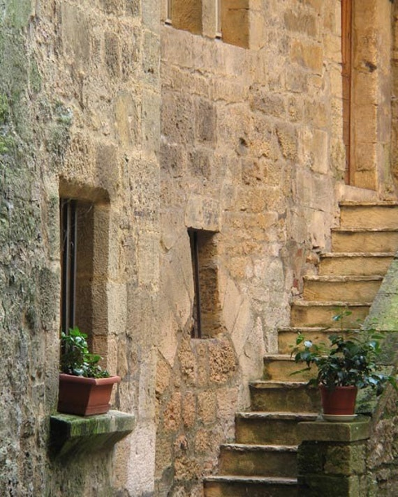 "Fine Art Color Architecture Photography of France - ""Steps on a Side Street in Sarlat"""