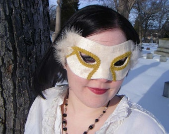 White and Gold Harlequin Mask