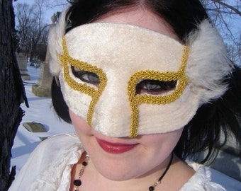 White and Gold Domino Mask
