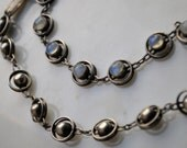 Blue Flash Moonstone & Silver: Modernist Bracelet Set - Ringed Orbs/Planets/Domes