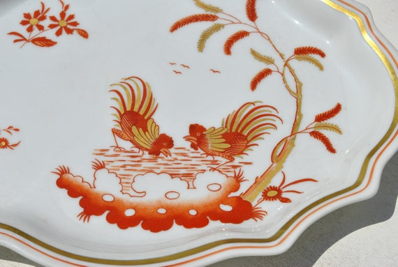 Golden Chinese Roosters: GINORI SIENNA RUST China-Oval Scalloped Tray, Plate, Candy Dish