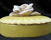 Vanity Box with Large Ceramic Cabbage Rose Pale Yellow Pottery Vintage Ceramic What Not Box Eye Candy