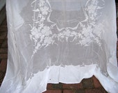 Fine Linen Tablecloth Grape Vines and Grape Clusters Embroidery and Applique Kerchief Linen Perfect for Wedding Table White on White