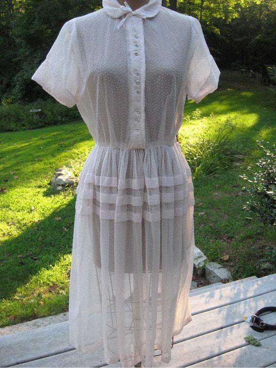 Dotted Swiss Dress 50s Big Skirt Dress Lovely Dotted Swiss Peggy Sue Dress