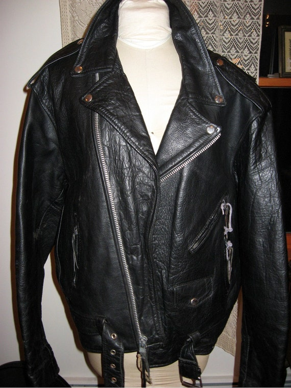 Black Leather Jacket Mens X Large--Size 52 Lots of Hardware Heavy Zippers Biker Jacket Born to Be Wild