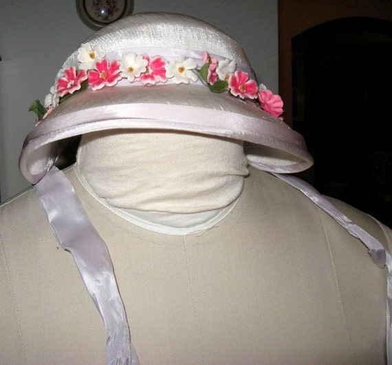 Easter Hat Child's or Small Ladies Spring Hat With Floral Accents Pretty Little Easter Bonnet Vintage Millinery