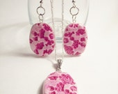 20% Off Sale - Pink Floral Necklace and Earring Set (Polymer Clay)