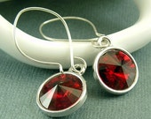 Red Crystal Earrings on Sterling Silver Ear Wires - Beautiful Romantic Gift