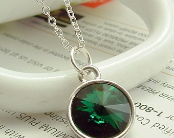 Green Jewelry, Green Crystal Necklace, Emerald Green Crystal Necklace, Swarovski Crystal Necklace, Green Rivoli Necklace, Ask Questions