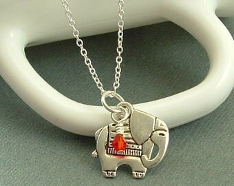 Jewelry, Elephant Necklace, Elephant Jewelry, Animal Necklace, Lucky Elephant Necklace With Choice Of Birthstone Crystal, Gift For Her