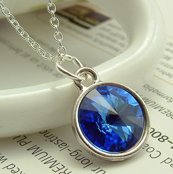 Jewelry -  Necklace, Blue Crystal Necklace, Blue Swarovski Jewelry, Swarovski Rivoli Crystal Necklace, Bridesmaids Gift, Gift For Her