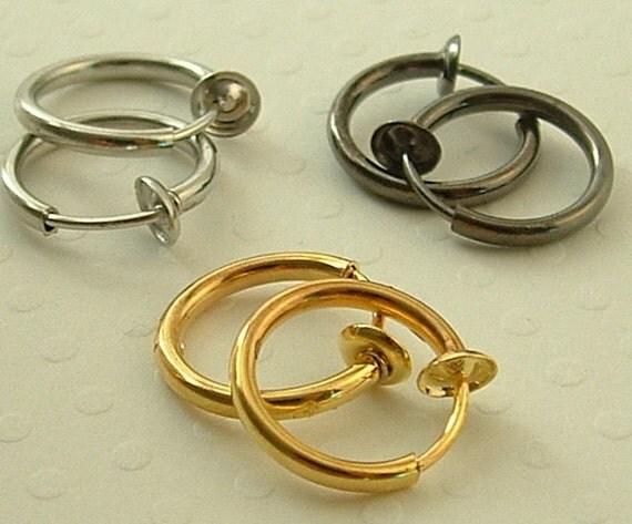 3 pairs - Jewelry , Earrings , Hoop Earrings For Non -Pierced Ears