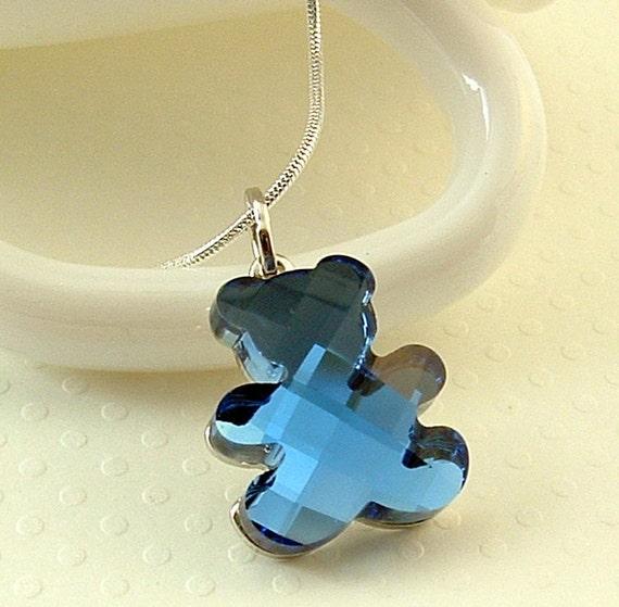Bear Necklace , Teddy Bear Necklace , Animal Jewelry , Crystal Animal Jewelry , Swarovski Bear Necklace