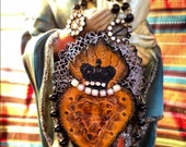 leather sacred heart milagro necklace