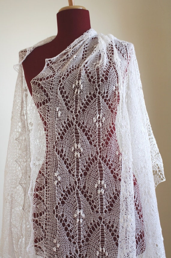 Knitting Patterns Lace Dress : knitted Lace Shawl Heirloom quality Wedding Dress white