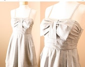 1 DAY SALE Audrey- Pleated Bow Denim Sundress in French Gray (XS,S,M)