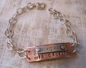copper stamped bracelet with sterling riveted initials, ID bracelet, initials, date