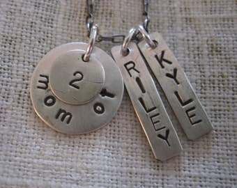 Mom of 2 sterling silver necklace with children's names