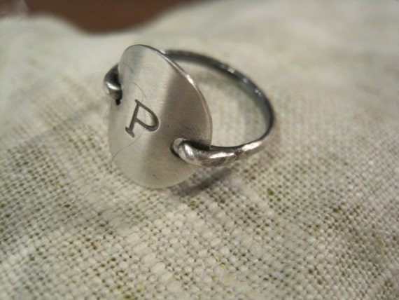 Sterling silver Initial Ring stamped monogram jewelry