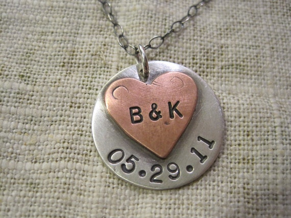 couples initials and anniversary date in copper and sterling silver necklace