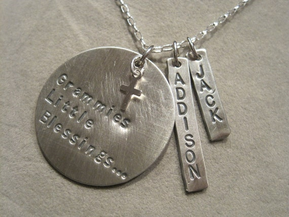 Grammies Blessings x 2 sterling silver hand stamped necklace with grandchildren's names