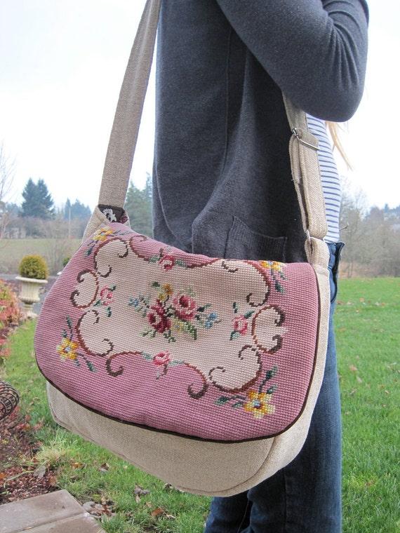 tan messenger bag purse with needlepoint flap