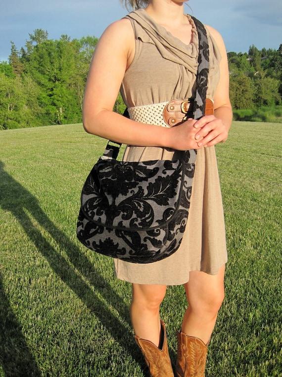 Black and gray messenger purse handbag