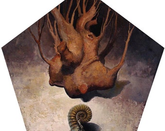 Representational Oil Painting of Roots, and a Bronze Ammonite on a Custom Made Pentagonal Panel