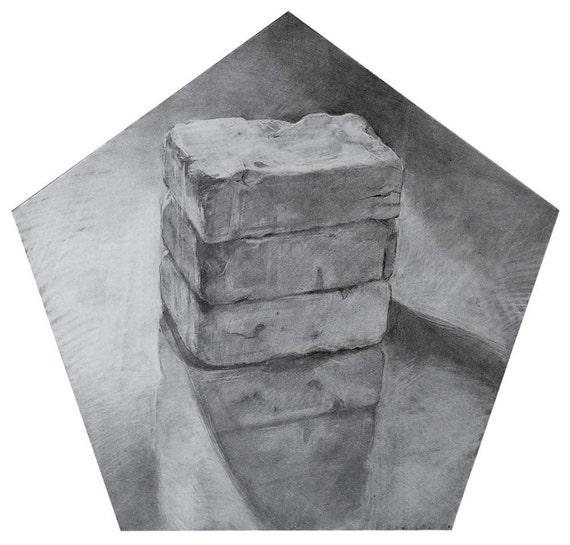 Representational Graphite Drawing of Bricks in a Pentagonal Shape on Paper