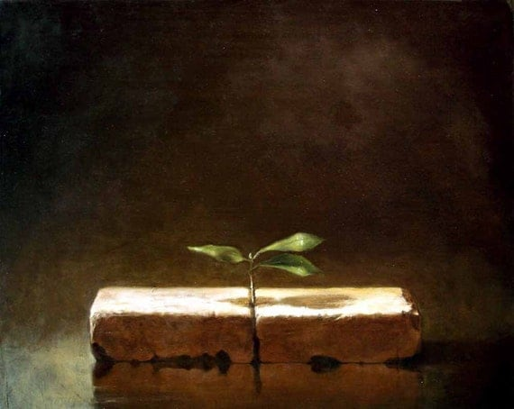 Representational Oil Painting of Two Bricks With a Sapling and Three Green Leaves