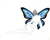 PRINT - Woman with Wings - Aqua Blue and Copenhagen Blue Butterfly Wings