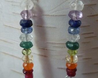 Multi Gemstone Chakra Rainbow Earrings Sterling Silver FREE SHIPPING