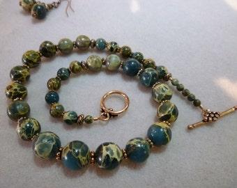 Aqua Terra Jasper & Copper Graduated Smooth Round Bead Necklace/Choker