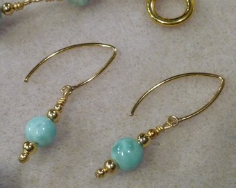 AA Blue Small Larimar Smooth Round Bead Gold Filled Marquis Wire Earrings Turtleback Pattern SALE PRICE