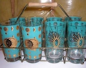 Glassware - Vintage Drinking Glass Set - Turquoise and Gold -Mad Men