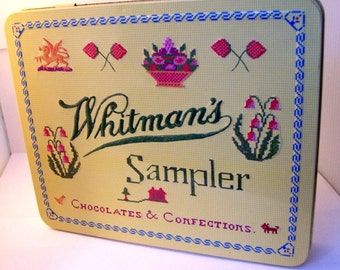 Whitman's Sampler Chocolate Tin, Collectible Candy Tin, Vintage Tin Box, Great Graphics, Hinged Tin, Stash Box