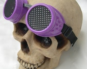PURPLE/BLACK Cyber-Rave - STEAMPUNK - Goth - Punk - Clubbing Welders Goggles with Mesh Eye Treatment