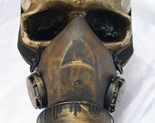 STEAMPUNK GAS MASK - Distressed Gold Brass Look Lightweight Single Filter Chemical Nuclear Biological Warfare Respiratory-Burning Man Mask