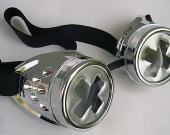 Chrome-Look STEAMPUNK GOTHIC Cyber GOGGLES w/Silver Swiss Cross Lenses
